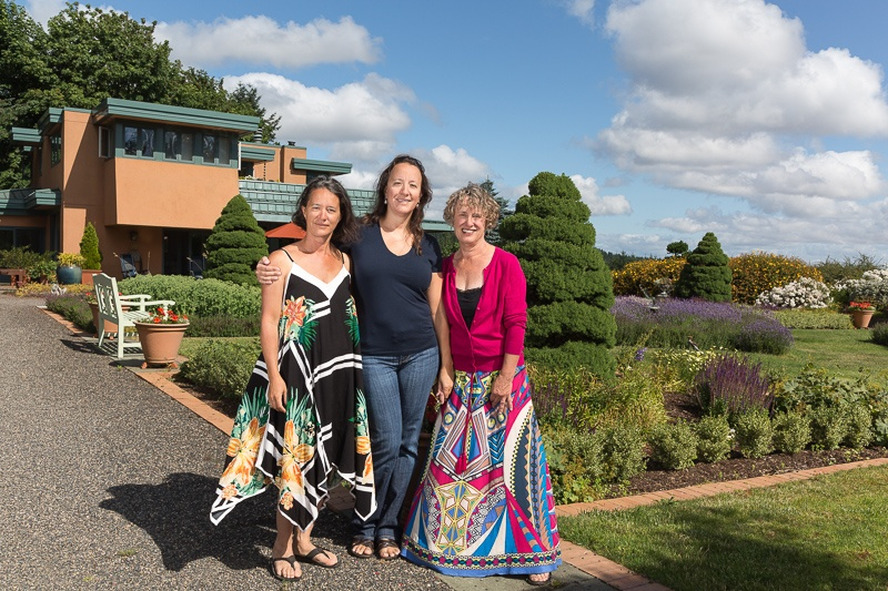 Elise Prudhomme, Cynthia Stimac and Christine Stimac are owners of Three Feathers Estate & Vineyard