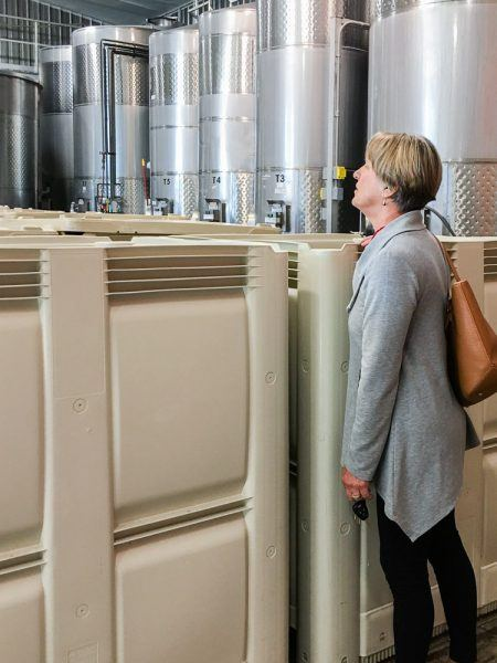 Christine Stimac, Three Feathers Estate owner, looking at the first harvest grapes in fermentation tanks at Ladyhill Winery, Saint Paul, Oregon, USA.