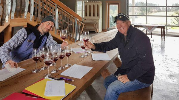 Barrel tasting custom crush 2016 Three Feathers Pinot Noir with Winemaker Dan Duyree at Ladyhill Winery, Saint Paul, Oregon, USA.
