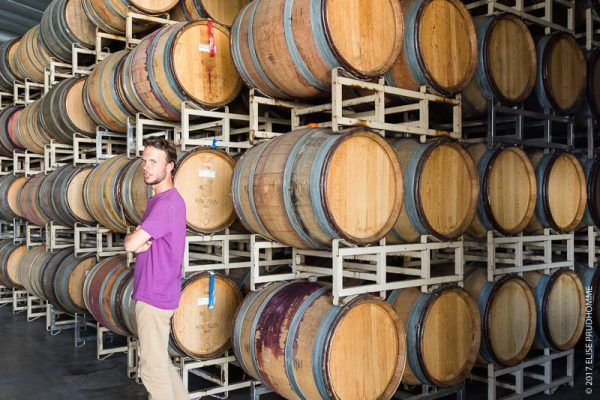 Colin Prudhomme in the barrel storage room of Lady Hill Winery d