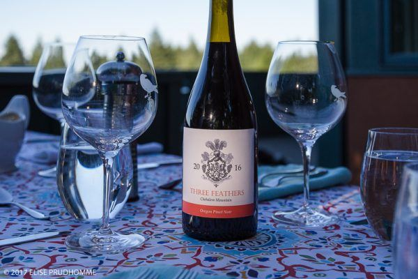 Three Feathers Vineyard vintage 2016 Pinot Noir for a summer evening dinner party