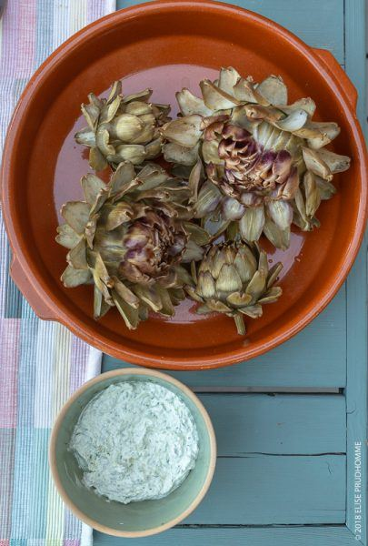 Sour Cream Herb Dressing and Home-grown Artichokes