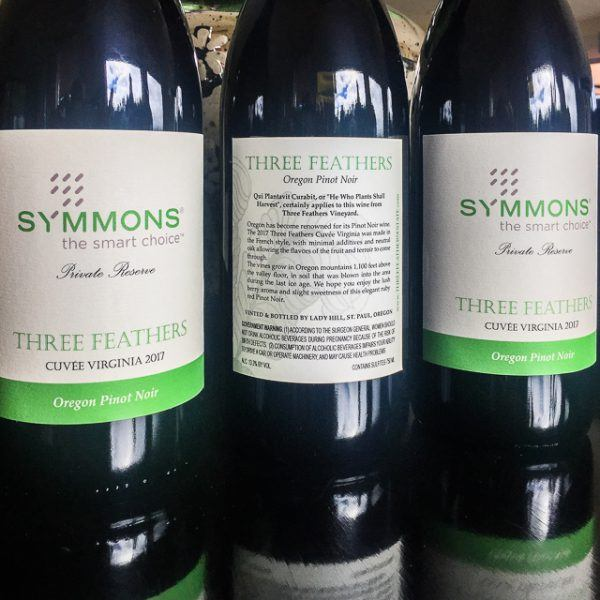 Custom Label by Three Feathers Estate & Vineyard for Symmons Incorporated