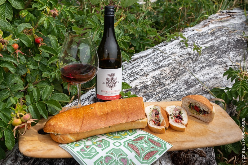 Oregon Coast picnic with Pan Bagnat and Three Feathers Pinot Noi