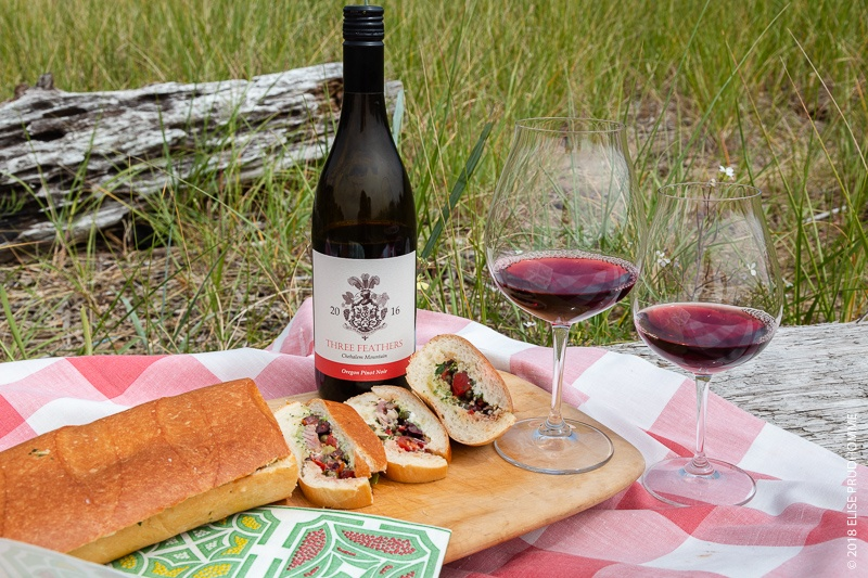 Pan Bagnat sandwich and Three Feathers Pinot Noir