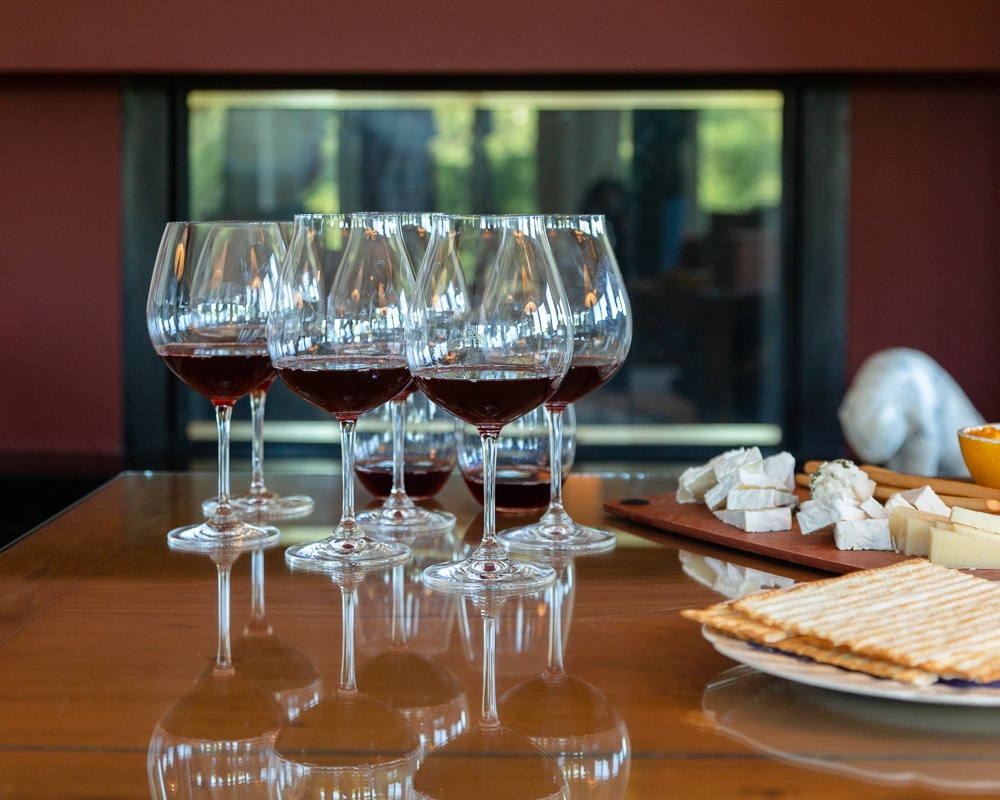 Tasting 2017 Three Feathers Pinot Noir Wines with a selection of cheeses.