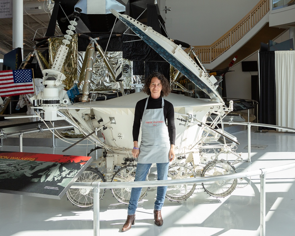Elise Prudhomme and the Lunokhod 1 Russian unmanned lunar rover.