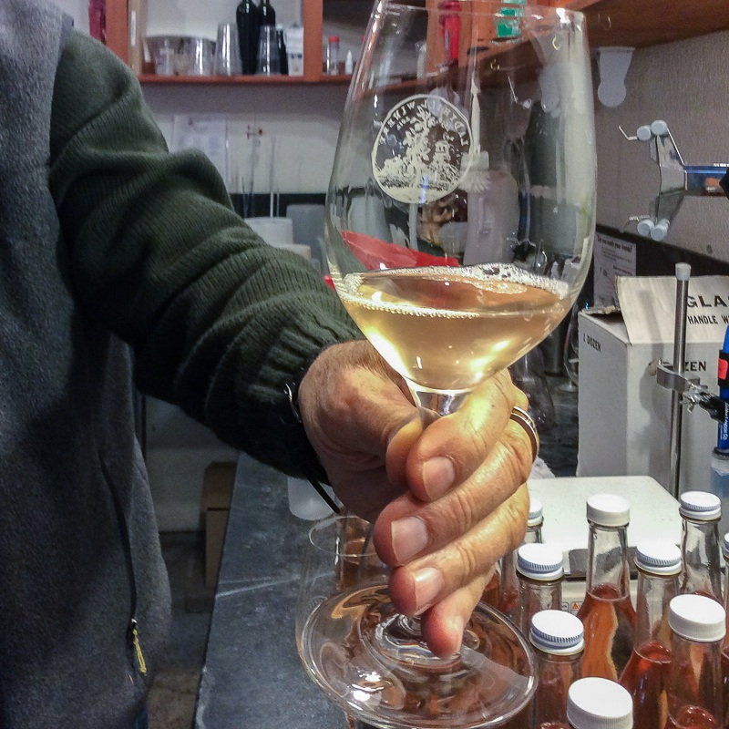 Three Feathers 2018 Blanc de Noirs almost in the bottle