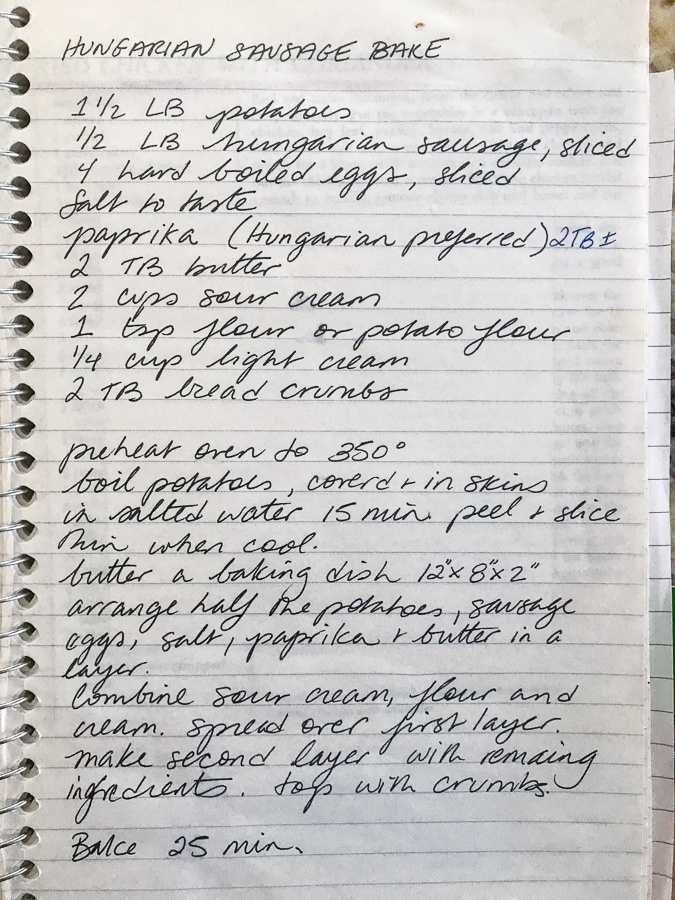 Handwritten recipe for the Hungarian Sausage Bake